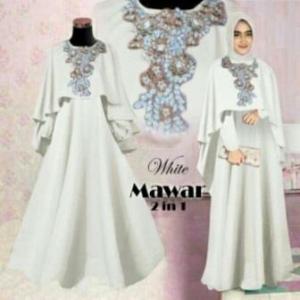 Busana Muslim Pesta Cantik Ukuran Kecil Mawar 2 in 1 putih