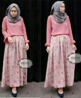 Busana Muslim Trendy Ukuran Kecil Kiara Set Warna Pink Bahan Korean Silk