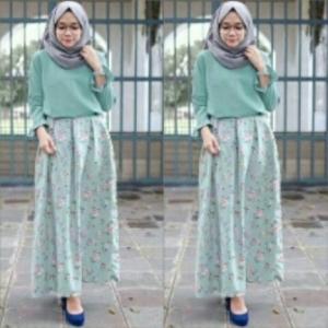 Busana Muslim Trendy Ukuran Kecil Kiara Set Warna Tosca Bahan Korean Silk
