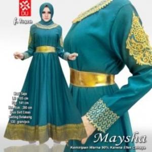 Busana Muslim Wanita Untuk Pesta Maysha Warna Tosca Bahan Balotelifes