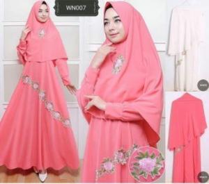 Gamis Busui Cantik Bahan Wollycrepe Bunda Syar'i Warna Pink