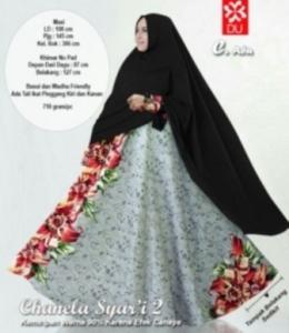 Gamis Cantik Chanela Syar'i warna Abu Bahan Baloteli