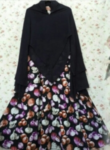 Gamis Cantik Terbaru Union Syar'i Black Bahan Monalisa