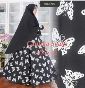 Gamis Jersey Cantik Modis Cantika Syar'i Hitam
