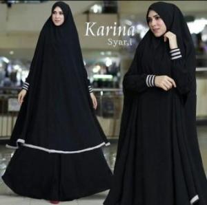 Gamis Karina Syar'i Terbaru Online Warna Black Bahan Bubblepop