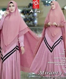 Gamis Modern Miranty Warna Pink Bahan Woolpeach