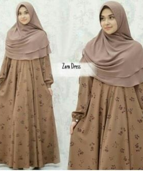Gamis Modern Zara Brownie Syar'i Bahan Monalisa