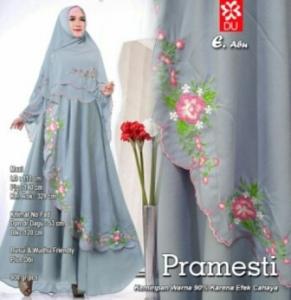 Gamis Muslimah Modern Pramesti Syar'i warna Abu Bahan woolpeach