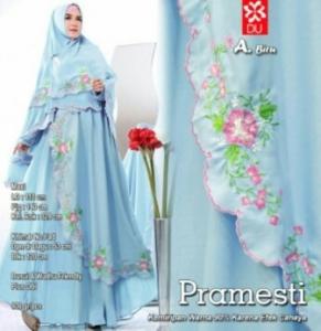 Gamis Muslimah Modern Pramesti Syar'i warna Biru Bahan woolpeach