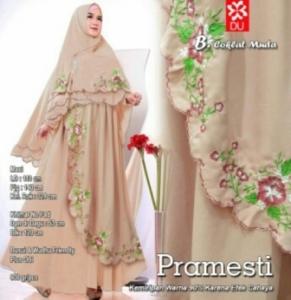 Gamis Muslimah Modern Pramesti Syar'i warna Coklat Muda Bahan woolpeach