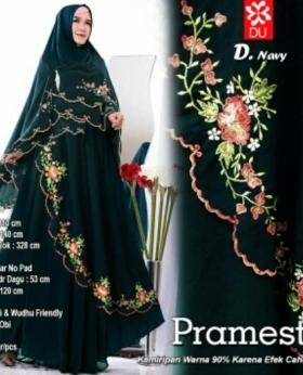Gamis Muslimah Modern Pramesti Syar'i warna Navy Bahan woolpeach