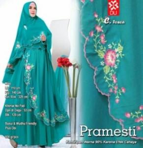 Gamis Muslimah Modern Pramesti Syar'i warna tosca Bahan woolpeach