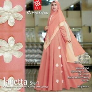 Gamis Terbaru Janetta Syar'i Online Warna Pink Salem Bahan Woolpeach