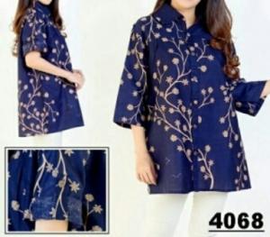 Baju Atasan Wanita Muslim Terbaru Amurra Blouse Bahan Katun Bangkok Warna Biru