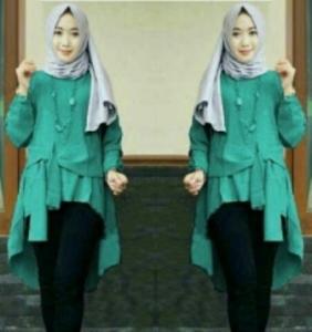Baju Atasan Wanita Muslim Terbaru Tunik Cantika Warna Tosca Bahan Baloteli