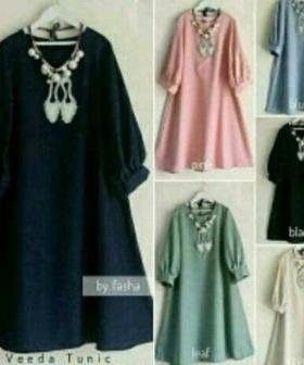 Baju Atasan Wanita Muslim Veeda Tunik Bahan Wolfis