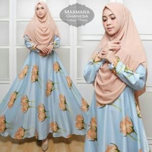 Baju Gamis Cantik Ghanesa Syar'i Warna Biru Bahan Maxmara