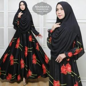 Baju Gamis Cantik Ghanesa Syar'i Warna Hitam Bahan Maxmara