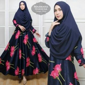 Baju Gamis Cantik Ghanesa Syar'i Warna Navy Bahan Maxmara