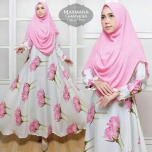 Baju Gamis Cantik Ghanesa Syar'i Warna Pink Bahan Maxmara