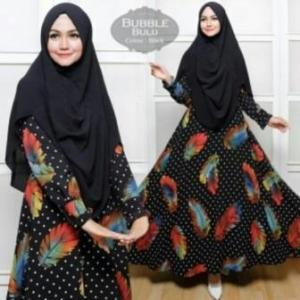 Baju Gamis Cantik Terbaru Bulu Syar'i Warna Black Dengan Bahan Bubblepop