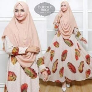 Baju Gamis Cantik Terbaru Bulu Syar'i Warna Choco Dengan Bahan Bubblepop