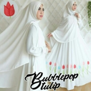 Baju Gamis Cantik Tulip Syar'i Warna Putih Bahan Bubblepop