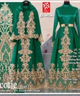 Baju Gamis Pesta Scotie Syar'i Warna Hijau Bahan Woolpeach
