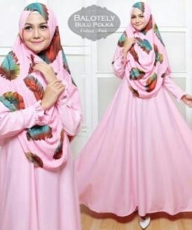 Baju Gamis Terbaru Bulu Polka warna Pink Bahan Baloteli