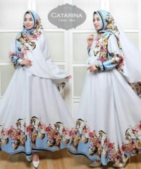 Baju Gamis Terbaru Dan Mewah Catarina Syar'i Warna Blue Bahan Catarina