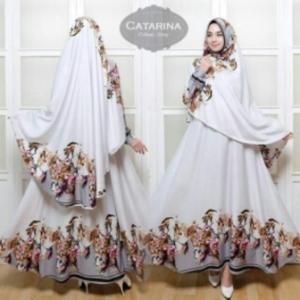 Baju Gamis Terbaru Dan Mewah Catarina Syar'i Warna Grey Bahan Catarina