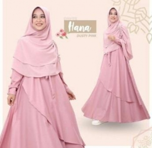 Baju Gamis Terbaru Dan Modis Hana Syar'i Warna Dusty Pink Bahan Baloteli