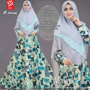 Baju Gamis Terbaru Dan Modis Malayka Syar'i Warna Cream Bahan Maxmara