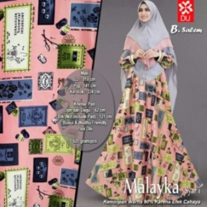 Baju Gamis Terbaru Dan Modis Malayka Syar'i Warna Salem Bahan Maxmara