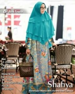 Baju Gamis Terbaru Keinian Shafiya Syar'i Warna Biru Tosca Bahan Maxmara