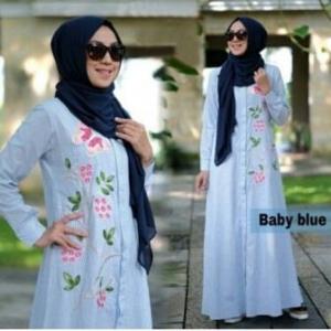 Baju Gamis Zahra Warna Baby Blue Bahan Katun Yanded