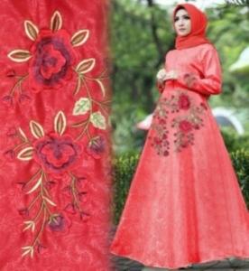 Baju Muslim Wanita Laluna Bahan Embos Warna Merah