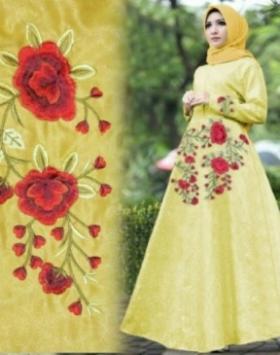 Baju Muslim Wanita Laluna Bahan Embos Warna Yellow