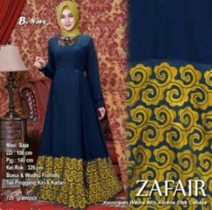 Baju Muslim Wanita Terbaru Zafair Warna Navy Bahan Balotelifes