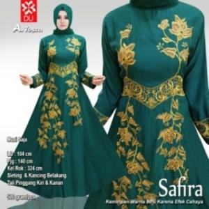 Baju Pesta Muslim Safira Warna Tosca Bahan Woolpeach