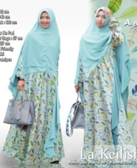 Baju pesta Muslim Anggun La Keilisha Syar'i Warna Daun Bahan Maxmara
