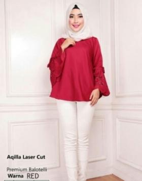 Blouse Wanita Terbaru Aqila Laser Warna Red Bahan Baloteli