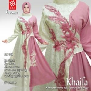 Busana Muslim Pesta Terbaru Khaifa Warna Pink.2 Bahan Jacquard