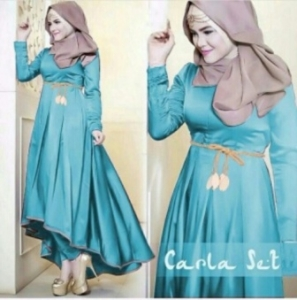 Busana Muslim Trendy Carla Set Warna Biru Ukuran Kecil