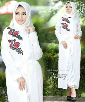 Busana Muslim Trendy Pansy Set Warna White Bahan Baloteli