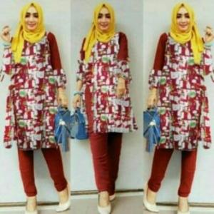 Busana Muslim Trendy Terbaru Palupi Set Warna Maroon Bahan Katun Linen