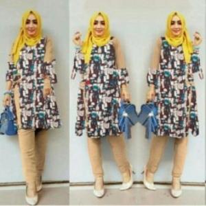 Busana Muslim Trendy Terbaru Palupi Set Warna Mocca Bahan Katun Linen