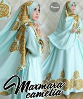 Gamis Cantik Camelia Syar'i Warna Tosca Bahan Maxmara