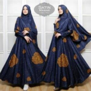 Gamis Cantik Terbaru Mawar Syar'i warna Navy Bahan Maxmara