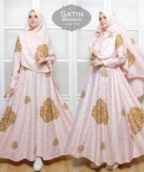 Gamis Cantik Terbaru Mawar Syar'i warna Pink Bahan Maxmara
